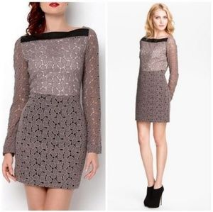 DVF sarita pebble gray lace leather dress